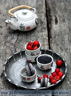 Black Sesame Macarons with Cherry Chocolate Ganache