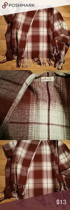 Maroon and Cream Plaid Shaw Adorable Hollister Jackets & Coats Capes