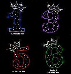 Birthday Number iron on rhinestone bling by MyFairysCloset on Etsy, $6.50