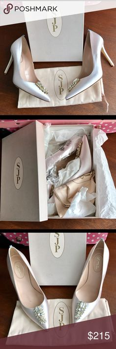 "SJP Pink Satin Tempest Brooch Detail Bridal Heels SJP by Sarah Jessica Parker Tempest Heels. Light pink satin with pointed-toe silhouette. Rhinestone brooch detail. Genuine leather lining, outsold, and padded leather footbed. Wrapped stiletto 3 3/4"" heel. Made in Italy. Perfect bridal shoe! Worn only by model for product photos. No longer in production: Rare item. SJP by Sarah Jessica Parker Shoes Heels"