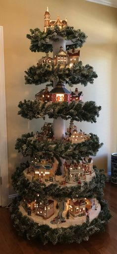 Christmas Village Tree Instructions Only / Christmas Village Display Instructions Only / DIY Instruc - Karma Sprüche Christmas Tree Village Display, Christmas Village Houses, Unique Christmas Trees, Christmas Villages, Beautiful Christmas, Christmas Crafts, Christmas Ornaments, Pink Christmas, Christmas Mantles