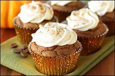 Hungry Girl's Spiced Pumpkin Latte Cupcakes - sub earth balance and vegan cream cheese