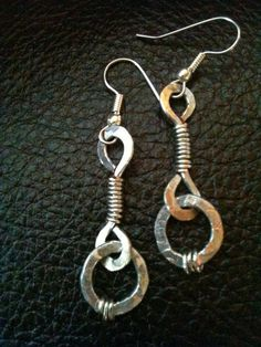 Hand forged flat thick silver wire  hammered textured bar chain link  earrings by BLLstudio