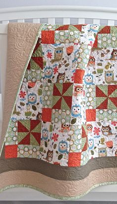 Modern Baby Girl Quilt featuring Adorable Owls White Brown Coral Grey Light Blue Tan Green.  Love this.  Claire Wise!!