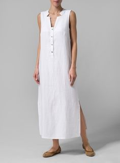 White Linen Sleeveless Slip-on Dress
