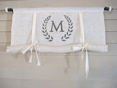 CUSTOM Order for FLORAMICHELLE White Burlap Monogram Swedish Roll Up Shade Stage Coach Blind Tie Up Curtain Swag Balloon Modern Farmhouse