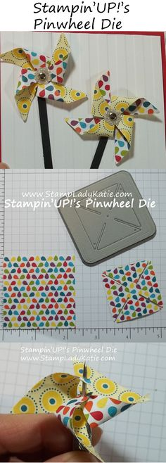 How to use Stampin'UP!'s pinwheel die. JUST CUT out a big SQUARE and then divide it into fours