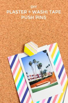 Add some color and pattern to your office with these easy DIY plaster + washi tape push pins!