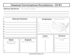 Homeschooling with a Classical Twist: Cycle 3, Week 1 {Review Sheets}