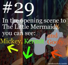 Cool Disney Facts In the opening scene to The Little Mermaid, you can see Mickey, Kermit, and Goofy!i see goofy, but not mickey and kermit. Disney Memes, Disney Fun Facts, Disney Quotes, Disney Trivia, Funny Disney, Disney Cartoons, Emperor's New Groove, Disneyland Secrets, Disney Secrets