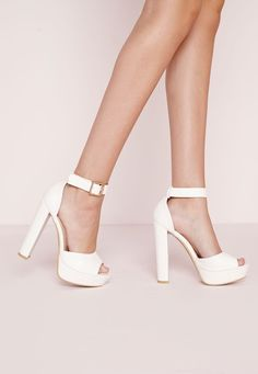 Missguided - Platform Heeled Sandals White Croc