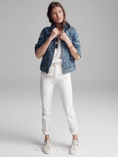 madewell perfect summer jean worn with the jean jacket, slub crewneck tee + puma® match lo sneakers.