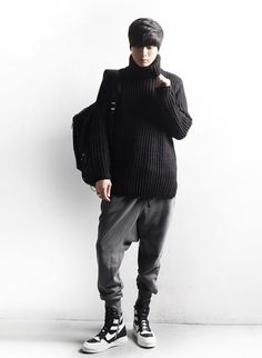 Turtleneck knit sweater for men. Straight, long, and loosely cut pullover for autumn and winter.