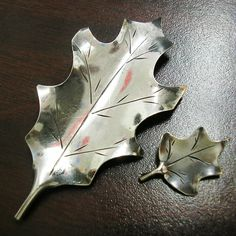 2 HOLLY LEAF floral Brooch Pins Vintage Sterling Silver by HighArt, $44.00