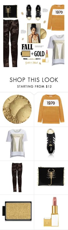 """""""Fall Gold"""" by edenslove ❤ liked on Polyvore featuring Bella Freud, Fendi, adidas, Balmain, Buxom, Tom Ford and Bobbi Brown Cosmetics"""