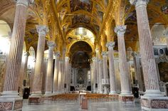 """Basilica of Santissima Annunziata del Vastato: """"Its entire finish is superb, the frescoing of the ceiling the most beautiful I have see in Europe."""" WSC, 1884"""