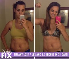 Tiffany Lost 7 lbs and 8.5 inches in just 3 weeks with the 21 Day Fix program. These are typical results from 21 Day Fix!