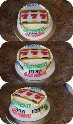 Slot machine cake for Grandpa's birthday. White cake with vanilla buttercream.