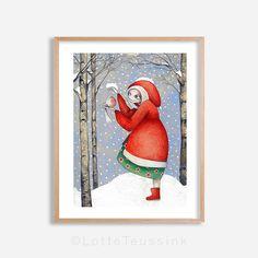 Christmas art print xmas illustration christmas art by TargetBunny