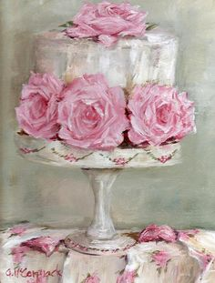 Shabby Chic Art - Celebration Cake by Gail McCormack Shabby Chic Kunst, Shabby Chic Salon, Shabby Chic Decor, Cupcake Torte, Cupcakes, Chic Retro, Painted Cakes, Rose Cottage, Cottage Style