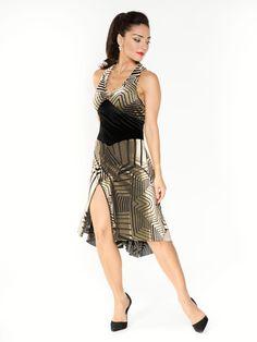 Six straps velvet devore dress | The London Tango Boutique