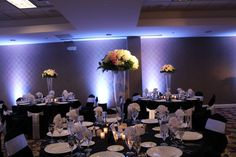 Pin Spot Lighting at the Double Tree O'Hare Wedding Event Lighting, Chicago Wedding, Hare, Wedding Centerpieces, Light Up, Special Events, Table Settings, Marriage, Entertaining