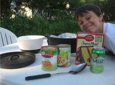 """I love cooking with my cast-iron Dutch oven over an open fire. Dutch ovens are great for making """"Dump Cakes,"""" meaning, you dump everything into the oven, close it up, and let it bake. My boys made their own Dump Cake during our weekend campout — so simple and so delicious. They'd like to share [...]"""