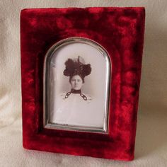 SOLD...c1882 Victorian Velvet Picture Frame with Bubble Glass, Lady in Hat Photo