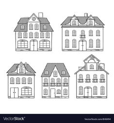 Illustration of Old hand drawing houses isolated vector art, clipart and stock vectors. House Doodle, House Silhouette, Building Drawing, House Quilts, House Illustration, Old Hands, House Drawing, Line Drawing, Easy Drawings