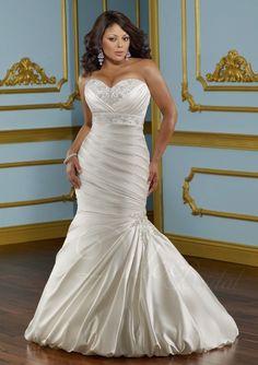 Mermaid Sweetheart Wedding Dress | Mermaid Sweetheart Satin Plus Size Wedding Dress - Didobridal