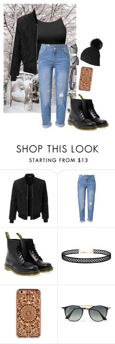 """""""Outfit idea #1"""" by kookiesantana on Polyvore featuring Shibuya, LE3NO, WithChic, Dr. Martens, LULUS, Felony Case, Ray-Ban and Black"""