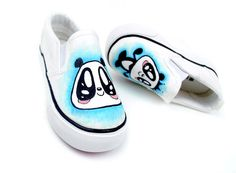 panda cartoon shoes for kids and family Kid Shoes, Slip On Shoes, Baby Shoes, Cartoon Shoes, Luna Skye, Hand Painted Shoes, Awesome Shoes, Panda Bear, Kids