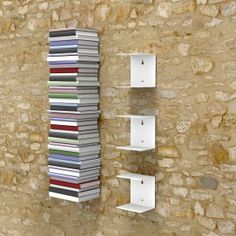 The invisible bookshelf small in white 3 piece set for a 40 Inch cm) stack of books Bookshelf Storage, Bookshelf Design, Book Shelves, Bookcase, Bookshelf Ideas, Hanging Shelves, Wall Shelves, Shelving, Invisible Bookshelf