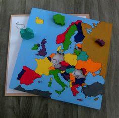Dřevěná mapa Evropy - puzzle