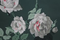 Vintage Wallpaper 1940's Large White and Pink Cottage Roses on Dark Green
