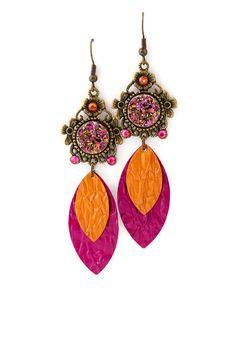 Boucles d'oreilles pendantes Cabochon - Nespresso - Paillettes - Aluminium et métal bronze - Breloques fuchsias et oranges : Boucles d'oreille par cap-and-pap