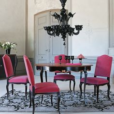 dining room, Traditional Dining Room Design Ideas With Round Dining Table Design With Black Chandelier With Pink Dining Chair Design With Pattern Carpet Flooring Ideas With Dining Room Furniture Ideas: Amazing Traditional Dining Room for Surprising Interior Design