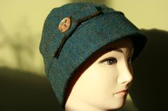 Harris Tweed Cloche Hat in a beautiful teal and by Ten10Creations