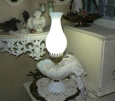 Leo Ladys Loot offers Vintage-Hurricane-Milk-Glass-Table-Top-Lamp-Lg-Bowl-Base-Electric