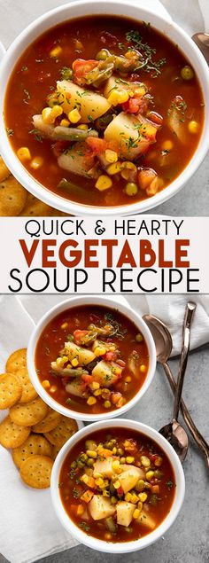 Easy Vegetable Soup - Tasha Sandoval - Easy Vegetable Soup Easy Vegetable Soup is a simple but hearty, and savory soup recipe that the whole family will love! You can make this vegetable soup recipe on your stove top or your slow cooker! Vegetable Soup Crock Pot, Vegetable Soup Healthy, Vegetable Soup With Chicken, Healthy Vegetables, Crockpot Vegtable Soup, Recipe For Vegetable Soup, Homemade Vegetable Soup Easy, Slow Cooker Healthy Soup, Pressure Cooker Vegetable Soup