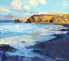 Late Evening, Portreath Beach Landscape, Landscape Art, Landscape Paintings, Landscapes, Smart Art, Dark Photography, Seascape Paintings, Watercolor Art, Canvas Art