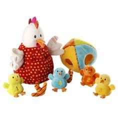 A la recherche d'un cadeau de naissance qui éveillera les sens de bébé et sa dextérité manuelle? Alors choisissez la marionnette d'Ophélie, la célèbre poule de Lilliputiens, est accompagnée par 4 marionnettes à doigts: ses poussins. Aide-les à entrer dans l'œuf, chacun y a sa place à la couleur correspondante.  Plus d'articles lilliputiens disponibles sur http://camilleandco.be/Jeux-et-jouets_540_115_p-3.html