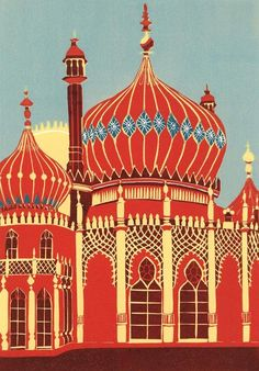 Brighton Pavilion (II) Linocut print by Jennie Ing: The Royal Pavilion in Brighton is a former royal residence. It is often referred to as the Brighton Pavilion and was built by the British in the Indo-Saracenic style prevalent in India for most of the 19th century