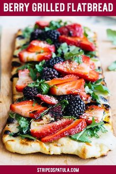 sponsored This Grilled Flatbread Recipe, topped with juicy summer berries, creamy Fontina cheese, and peppery arugula is the perfect summer entertaining recipe. Easy to make and a gorgeous presentation! Grilling Recipes, Gourmet Recipes, Appetizer Recipes, Cooking Recipes, Vegetarian Grilling, Healthy Grilling, Barbecue Recipes, Barbecue Sauce, Appetizers