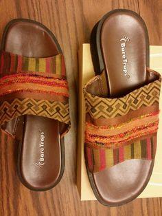 Bare Traps Ware Ever women's Size 8.5(M) brown orange boho flip flops sandals  #BareTraps #FlipFlops #sandals