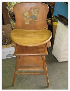 Antique Lehman Baby Guard Wood High Chair antique wooden high chair with cowboy motif applique sticker on the back, adjustable foot rest and sliding tray. My Childhood Memories, Great Memories, Childhood Toys, Fisher Price, Wooden High Chairs, Nostalgia, Baby Chair, The Good Old Days, Vintage Kitchen
