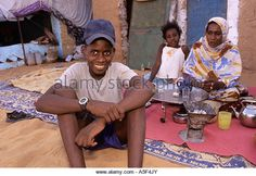 A Muslim family in the Saharawi refugee camp in Tindouf Western Algeria - Stock Photo