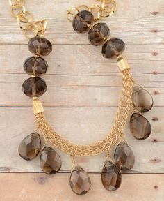 Gold Filled Chain, Knitted gold-filled Wire and Smoky Quartz Necklace / Artisan Jewelry / Mother's Day Gift