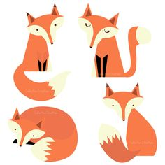 Fox Family Digital Clipart - Clip Art for Cards, Scrapbooking and Paper Crafts. $4.00, via Etsy.
