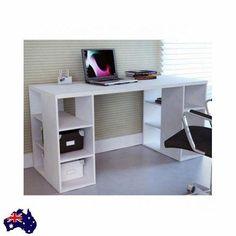 Desk w/ Storage Shelves Modern White Sleek Bloc Home Office Student Study Table